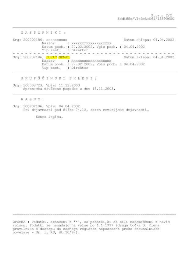 Sodni register stran 2